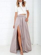 Satin Floor-Length Open Split Pink Solid High Waist Women Autumn Skirt Plus Size Maxi Long Longa Vintage A-line Party Skirt 2016