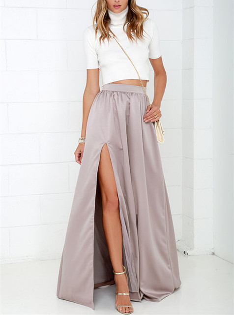 9b395929678 Satin Floor-Length Open Split Pink Solid High Waist Women Autumn Skirt Plus  Size Maxi