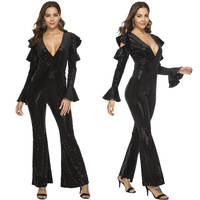 Long Sleeve Womens Cold Off Shoulder Ruffled Jumpsuit Sequins New Flare Leg Party Playsuit Romper Bodysuits Jumpsuits Overalls