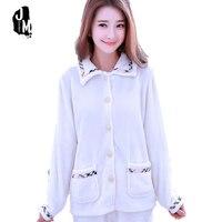 Autumn Winter Women Pyjamas Sets Thick Warm Coral Velvet Suit Flannel Long Sleeve White Pajama Set