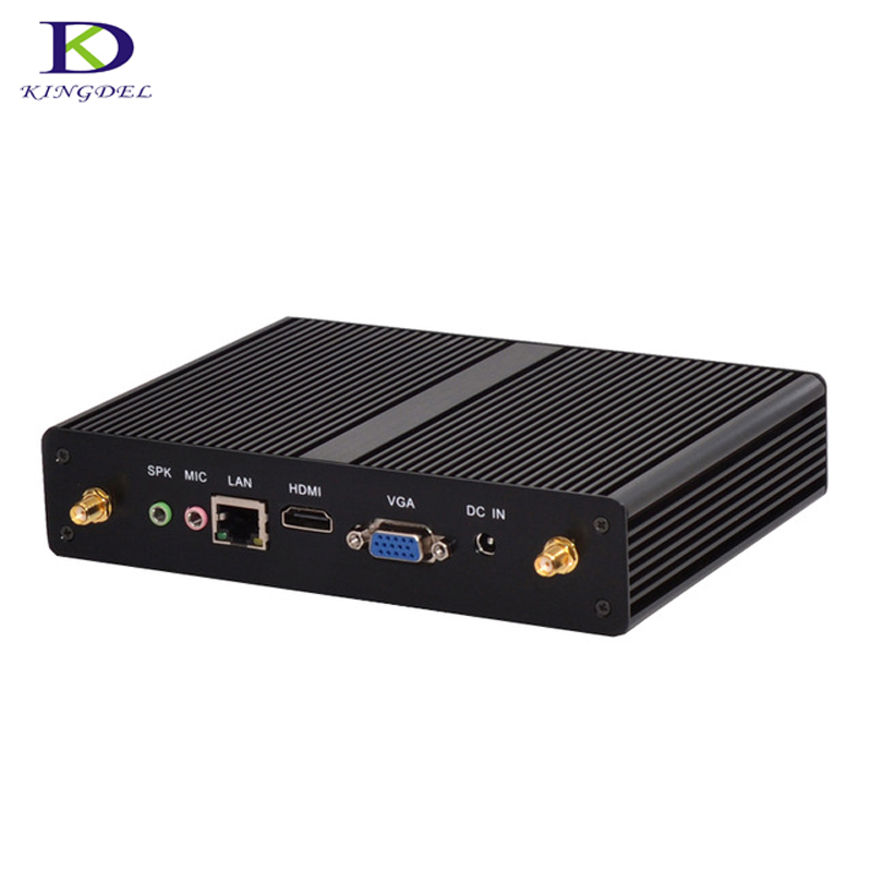 Fanless HTPC Small Computer Quad Core Celeron J1900 Nettop Pc With VGA HDMI Windows 7  Intel HD Graphics Mini Pc Tv Box