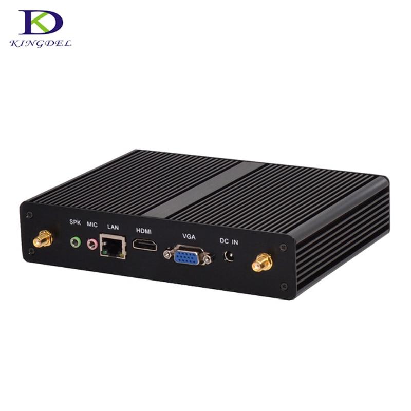 Fanless HTPC Small Computer Quad Core Celeron J1900 Nettop Pc With VGA HDMI Windows 7  Intel HD Graphics Mini Pc Tv Box