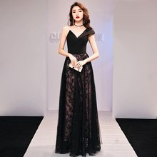 Elegant Long Party Dresses Evening 2019 Gala Dress Spaghetti Strap Prom Dresses Quinceanera Robe Stars Sky Black Gown 2019 TS517(China)