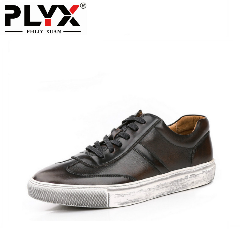 PHLIY XUAN Retro New 2018 Mens Casual Shoes Breathable 100% Handmade Genuine Leather Loafers With Design Hand Coloring
