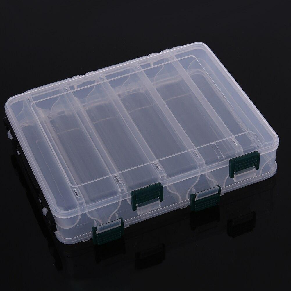 Boîte transparente Double face à dix compartiments boîte à crevettes en bois boîte à appâts de pêche en plastique leurre outil boîtes à outils nouveau