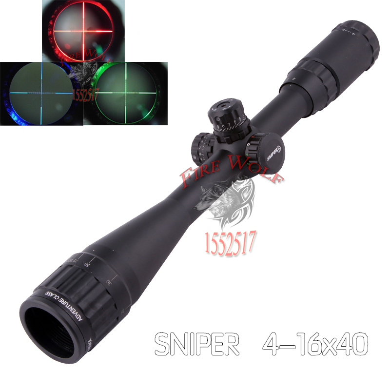 Hunting RifleScope Sniper 4-16X40 AOL 1 inch Full Size Tactical Optical Sight Illuminate Mil-Dot Locking Resetting Rifle Scope sniper white version of the sniper 6 24x50aol traffic light mil dot sight optical cross earthquake sniper scope