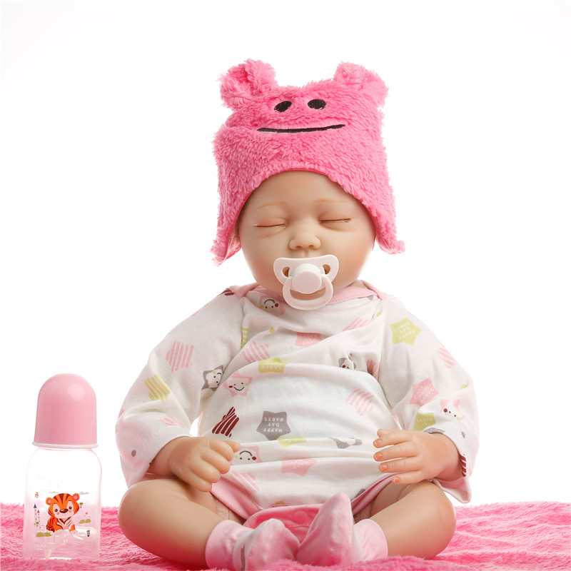 sanydoll hot new reborn silicone baby children s toys magnet pacifier 22 inch 55 cm cute cowboy dress doll SanyDoll 22 inch 55 cm baby reborn Silicone dolls, lifelike doll reborn Cute pink smile hat sleeping baby