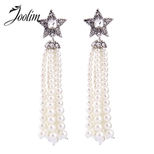 JOOLIM Jewelry Wholesale/2017 New Elegant Simulated Pearl Bead Tassel Earring Shooting Star Earring Women Gift Black Friday Deal(China)
