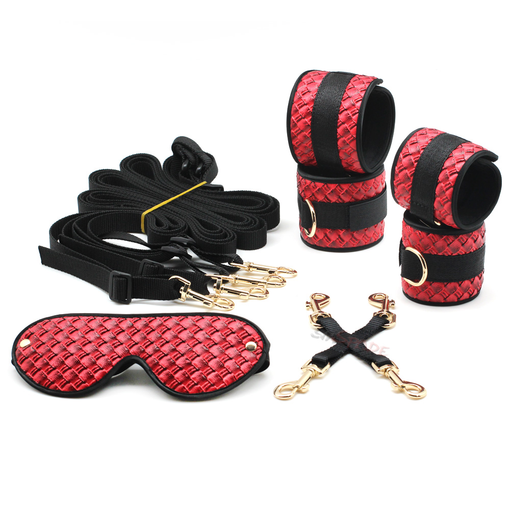 Smspade 5 pieces/lot red PU bed bondage kit, handcuffs foot cuffs blindfold faberic belt hog tie versatile bondage accessories