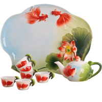 [1 Bule + 6 Xícaras + 1 Bandeja] Authentic 8 Pcs Bona China Jogo de Chá Conjunto Caneca de Café Copos Copos Bule de Café Pote de Peixe Sapo Casa Presentes|Jogos de chá|Casa e Jardim -