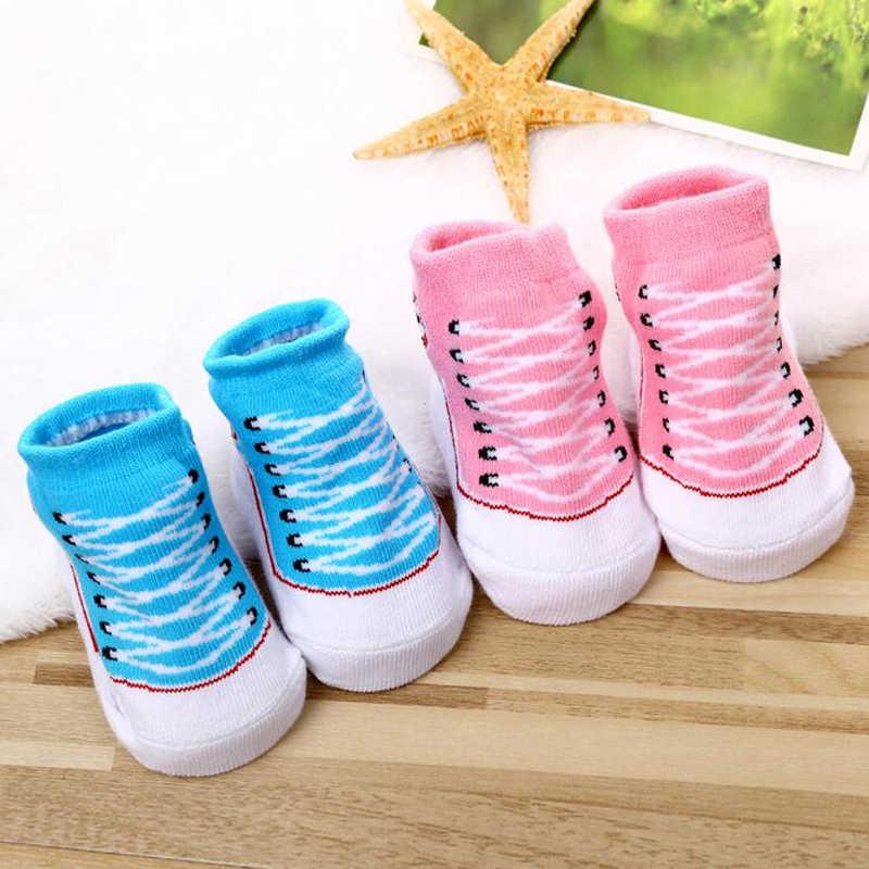 ใหม่น่ารักผ้าฝ้ายทารกแรกเกิดทารก Bebe Anti slip ปลอม Converse ชั้นรองเท้ายางรองเท้าแตะถุงเท้าเด็ก 0-12 เดือน