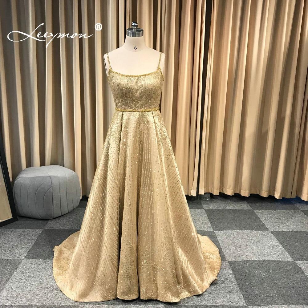 Leeymon 2019 fait sur commande or paillettes Spaghetti bretelles a-ligne robe de bal longueur de plancher robes