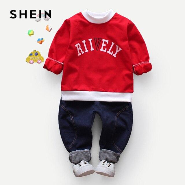SHEIN Kiddie/толстовка с буквенным принтом и джинсовые штаны комплекты из двух предметов для мальчиков 2019 г. весенний повседневный комплект детской одежды с длинными рукавами