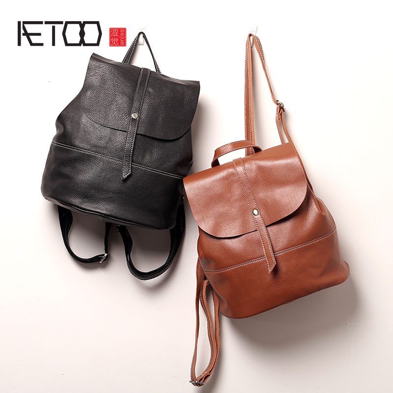 AETOO Leather shoulder bag 2017 new Korean version of the simple soft leather ladies bag first layer of leather small backpack aetoo first layer of leather shoulder bag female bag korean version of the school wind simple wild casual elephant pattern durab