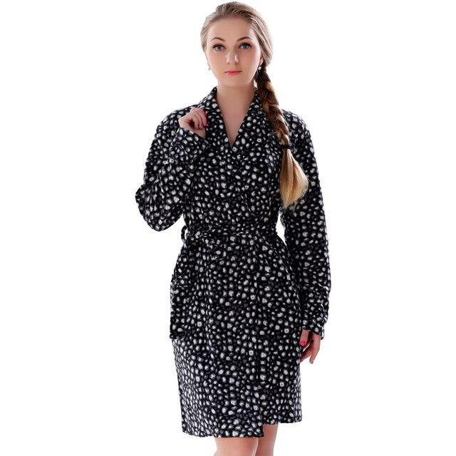 2016 Весна Осень Плюс Размер Микрофибры Руно Халат Печатных Леопарда Ночной Рубашке Кимоно Пижамы Халат Для Женщин