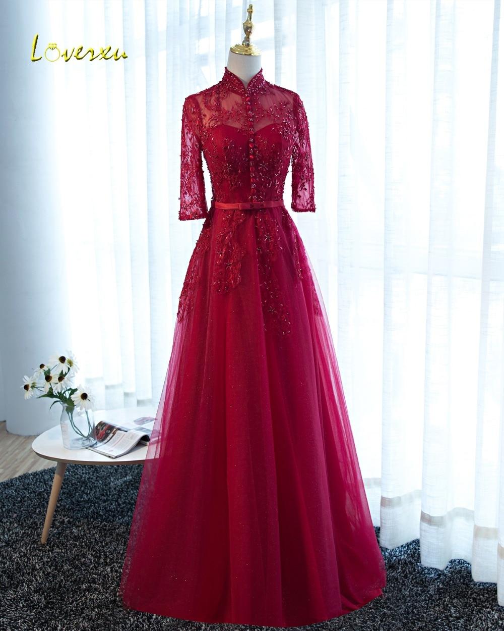 Loverxu Vintage High Neck Lace Half Sleeve Burgundy Evening Dresses 2019 Appliques Beaded Party Gown Vestido de Festa Plus Size