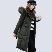 2017 winter women hooded coat fur collar thicken warm long jacket female plus size 3XL outerwear parka ladies chaqueta feminino