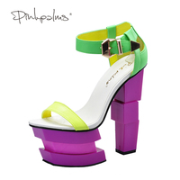 Pink Palms 2017 Women Summer Shoes Strange Style High Heels High Platform Neon Yellow Sexy Party