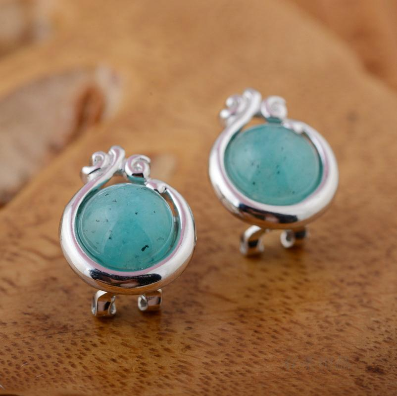 Sterling Silver Manual Mosaic Amazonite Stud Earrings Earrings Ear Clip Round Pure And Fresh And Sweet And Lovely Girl недорого