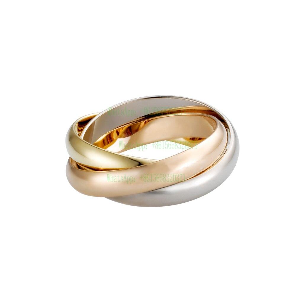 Titânio de Aço De Três Camadas Triplo Anéis Amor para Mulheres Homens Bandas Anel de Casamento de Noivado Gravado Aneis Anillos Bague Femme