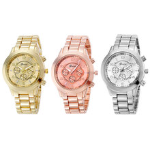 2016 Fashion Geneva Unisex Quartz Watch Women Wristwatches Stainless Steel Watch Relogio Feminino