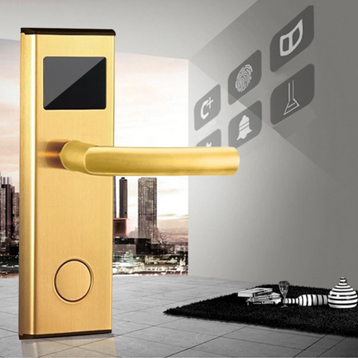 Système de Verrouillage De porte Or/Argent En Acier Inoxydable Intelligente RFID Carte-Clé Numérique Déverrouiller Hôtel Anti-rouille Anti- la corrosion Statique