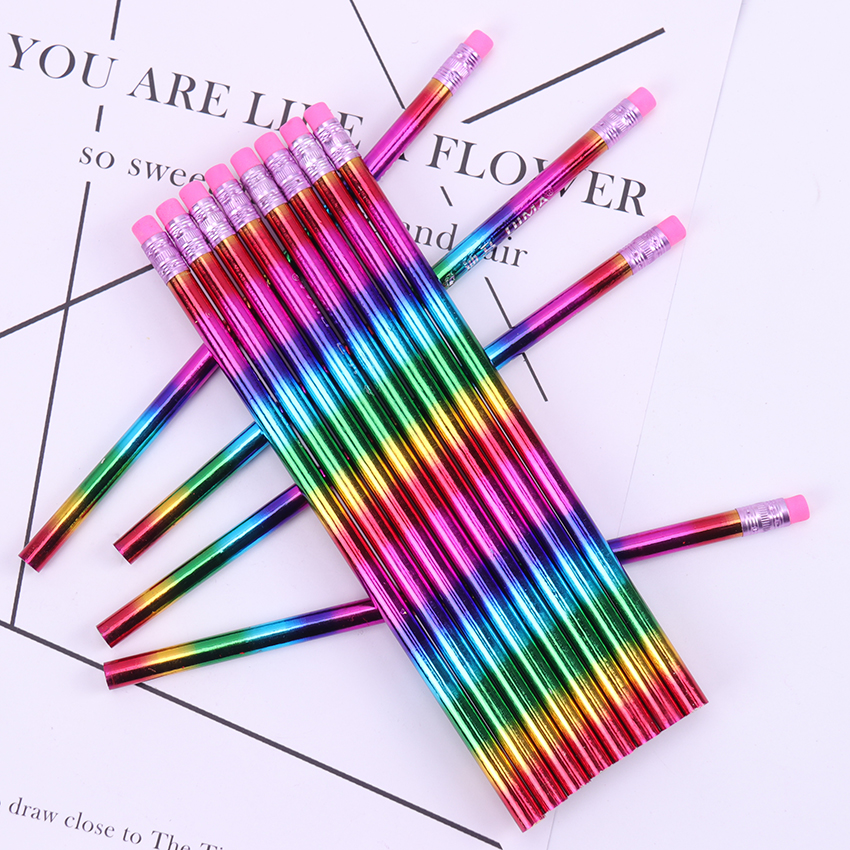12PCS New Rainbow Pencil Wood Environmental Protection Pencil Bright Color Appearance Pencil School Office Writing Pen