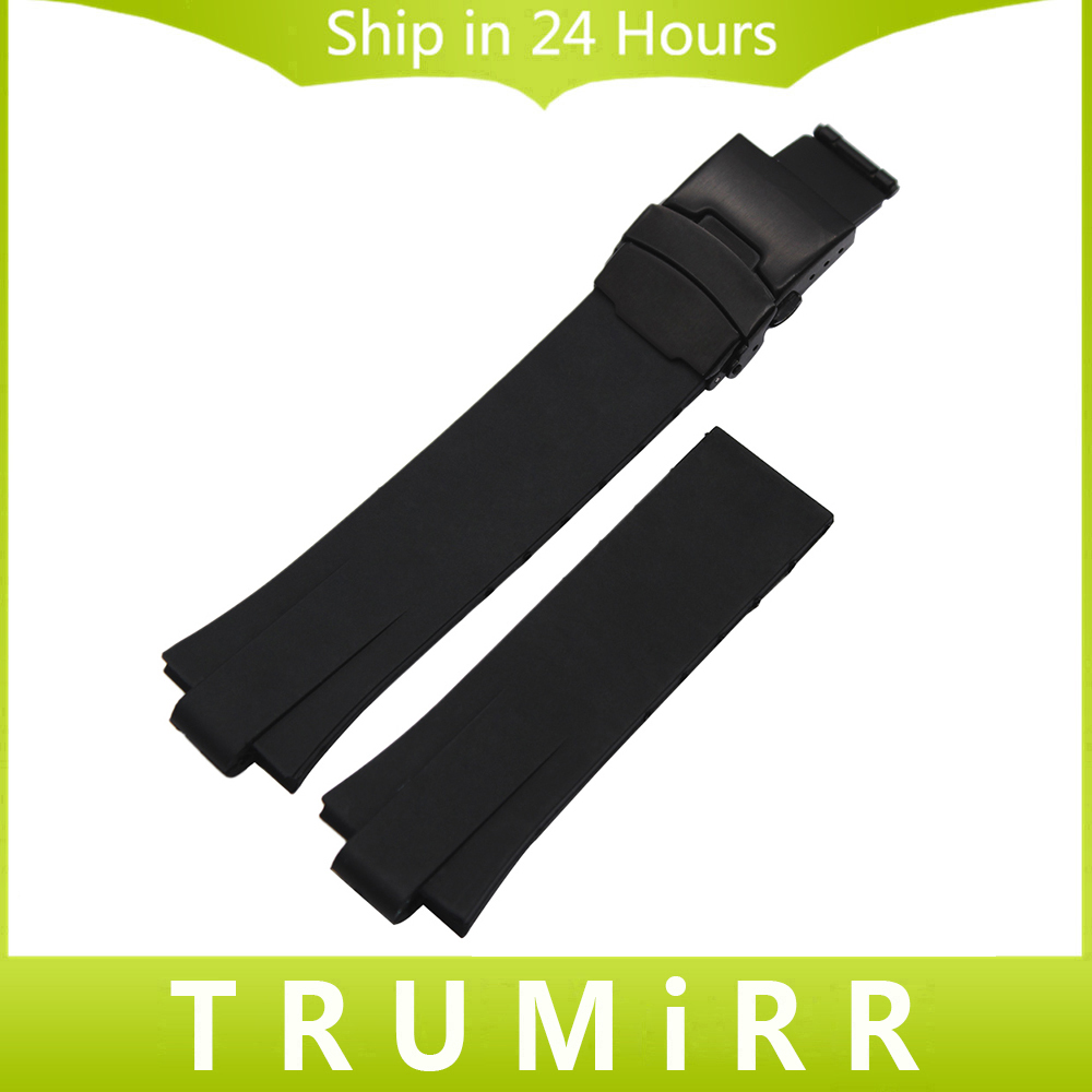 Convex Silicone Rubber Watchband 24 x 11mm +Tool for Aquis Watch Band Black Silver Steel Safety Buckle Strap Wrist Bracelet silicone rubber watchband 16mm x 29mm convex strap for ga100 g8900 gd 100 men women watch band resin wrist bracelet black white
