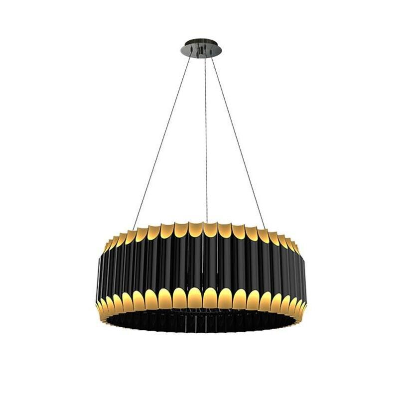 Creative Luxury Aluminium Tube black+gold LED Pendant lights lamps Hanging lamps for Dining Living room bedroom hotel cafe lobby oversized living room 36 inch shell lamps rich natural mediterranean flower garden hotel lobby lights pendant lights wwy 0363