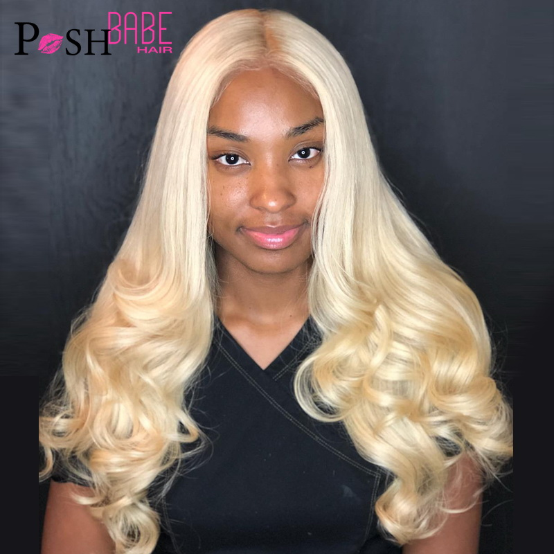 8 - 26 Inch 613 Honey Blonde Color Lace Front Human Hair Wig Remy Brazilian Body Wave Hair 1B 613 Ombre Lace Wig For Black Women