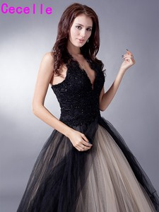 Image 3 - Black Nude Colorful Tulle Gothic Wedding Dresses With Color Non White Halter Bridal Gowns Non Traditional Robe De Mariee Real
