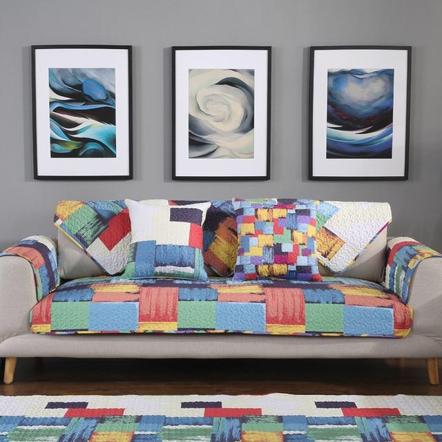 Graffiti Modern Plaid Cotton Sofa Cover Cloth Colorful Couch