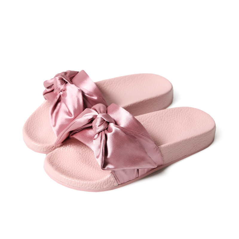 Rihanna Slippers Women Slides with Big Bow Lady Bowknot Slippers for Summer 2017 Fashion Trends Girls Casual Slippers Size 36-40 rihanna unapologetic