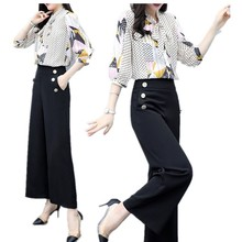 Summer Fashion Women Printed Sweet Bow Neck Temperament Shirts Pants Trousers Two Piece Sets Clothing Suit