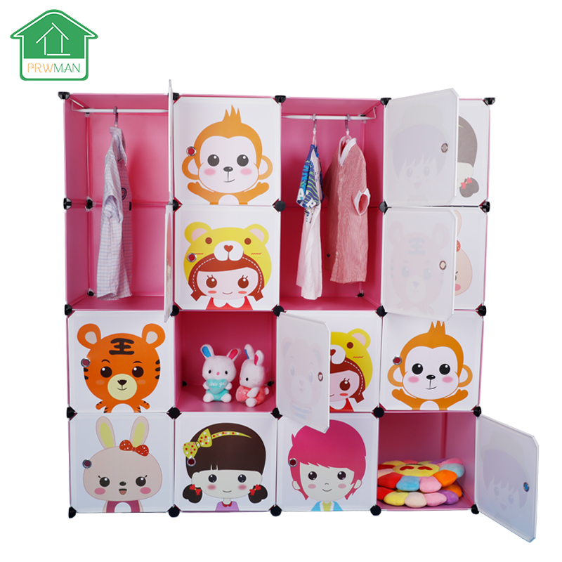 PRWMAN 16 Cube 2PC Hooks Cartoon Pink DIY Magic Piece of Resin Storage Cabinets Bedroom Wardrobe Furniture Student Home Wardrobe