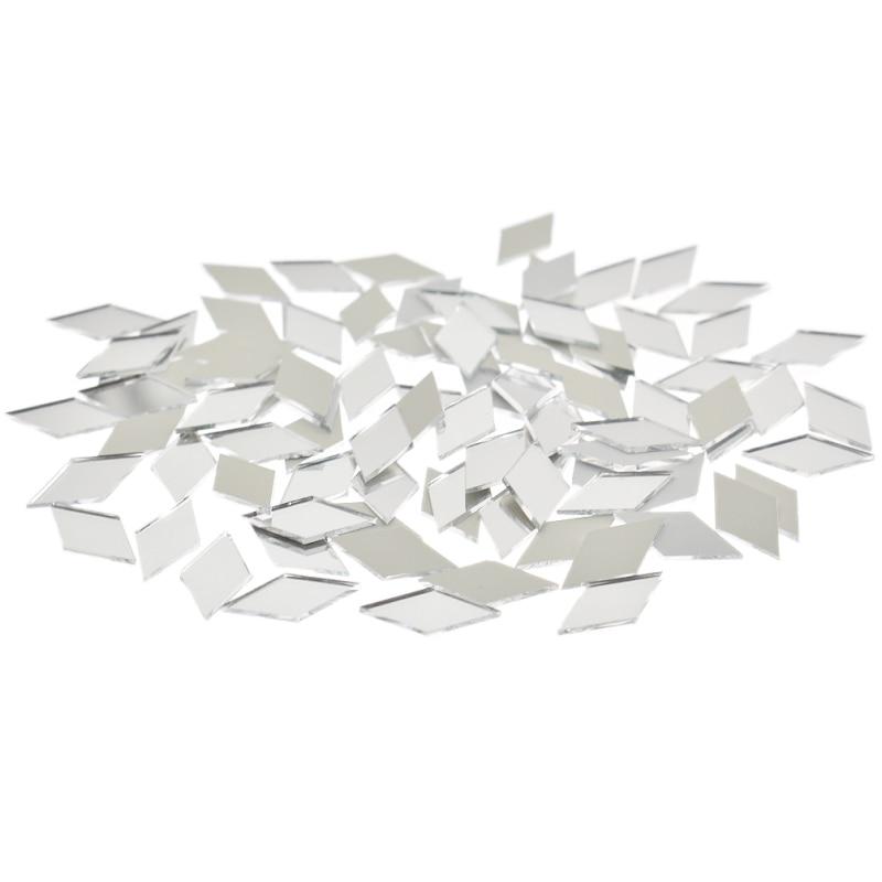 100PCS Diamond Shape Glass Mirror Mosaic Tiles Bulk Home Decoration Crafts DIY Accessory Wall Artwork Supplies