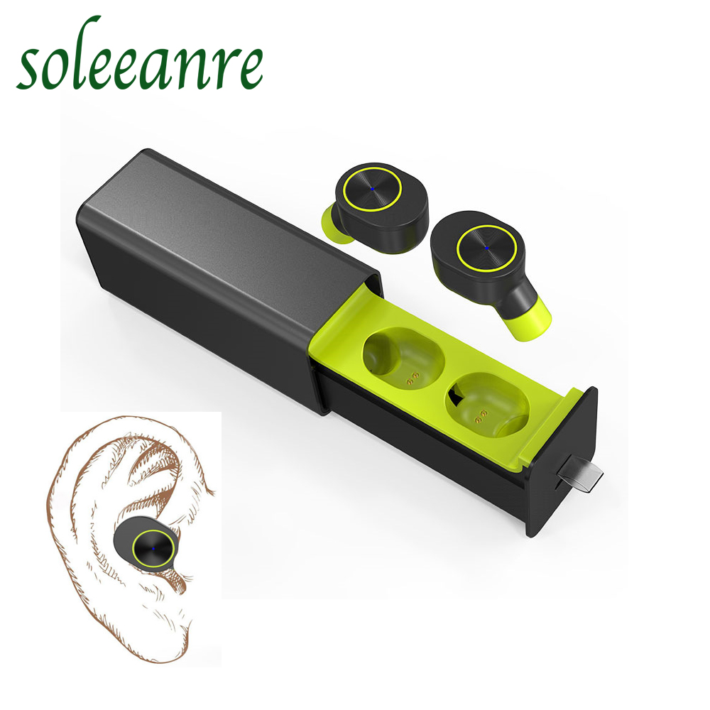 Soleeanre Bluetooth Earphone new Stereo sports wireless  double Earphones with a charging warehouse for iPhone Samsung xiaomi 2017 new stereo wireless bluetooth 3 0 handsfree headset earphone with charging cable for iphone 6 samsung