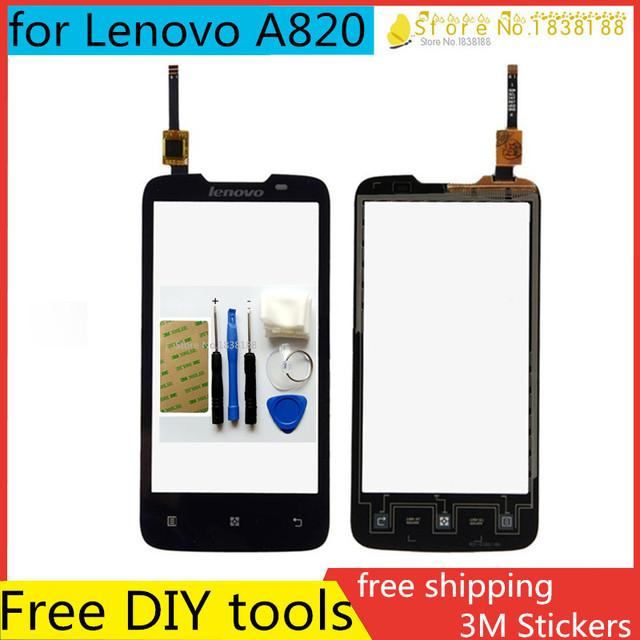 Envío herramienta de bricolaje + nuevo original para lenovo a820 pantalla táctil con piezas de repuesto digitalizador de pantalla externa negro + envío libre