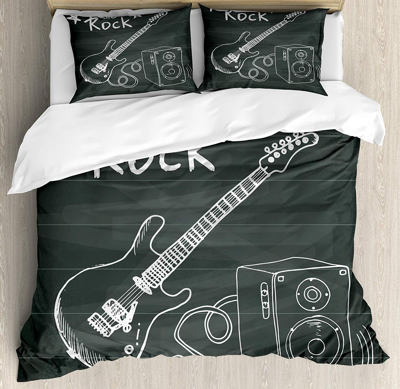 Guitar Duvet Cover Set Queen Size Love The Rock Music Themed Sketch Art Sound Box Text Chalkboard Bedding Set Grey