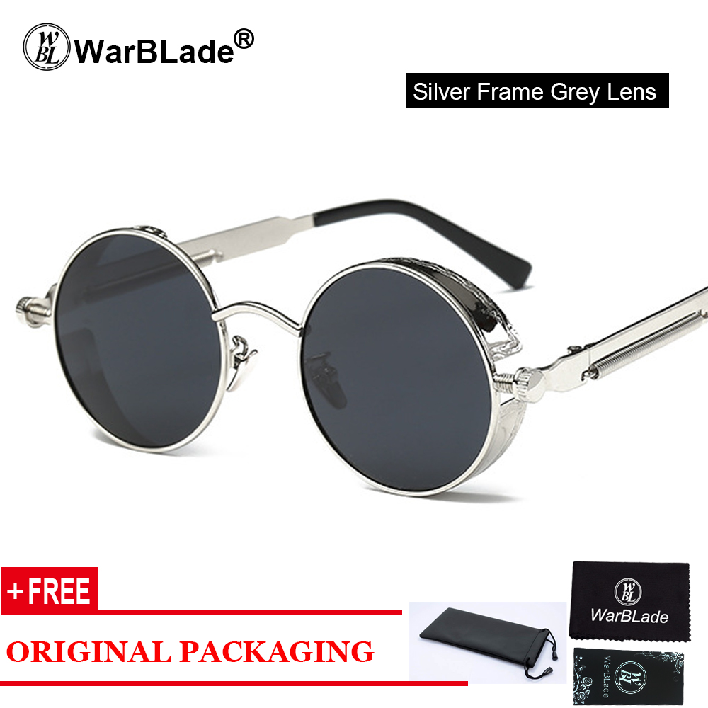 bdadfdaaa6 WarBLade Gothic Steampunk Clear Lens Sun Glasses For Women Alloy Frame  Retro Vintage Mens Brand Designer Round Sunglasses Women