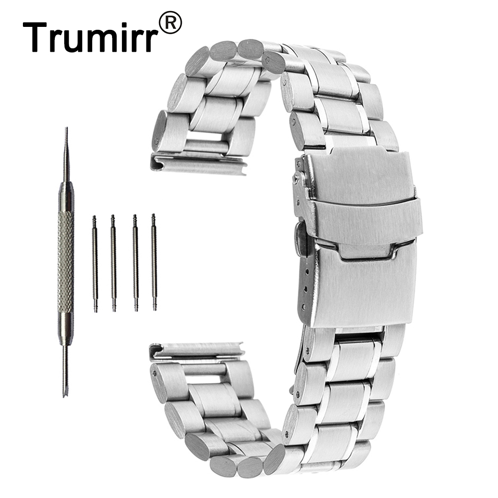 16mm 18mm 20mm 22mm 24mm Stainless Steel Watch Band Safety Buckle Watchband For Orient Wrist Belt Bracelet Black Gold Silver