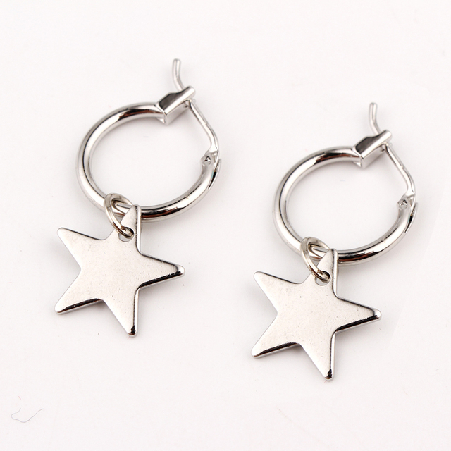 European Endless Circle Hoop Earrings Handmade Silver Gold Color Simple Star Ear