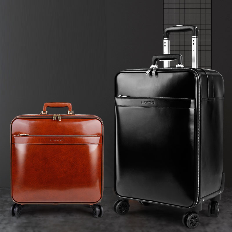 High quality male/female genuine leather travel bag cowhide commercial universal wheels trolley luggage 16 20 luggage suitcase