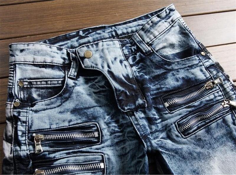 Nuevos hombres Biker Jeans Pantalón Multil Pocket Slim Fit plisado - Ropa de hombre - foto 3