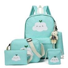 df418b4d06d5 5 Pcs Set Canvas Women Backpack Cute Cloud Printing School Backpacks  Schoolbag For Teenagers Girl