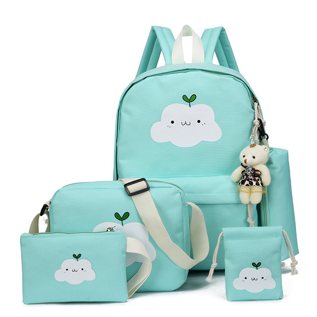 cd74d2a50 5 Pcs/Set Canvas Women Backpack Cute Cloud Printing School Backpacks  Schoolbag For Teenagers Girl Boy Casual Travel Bag Rucksack