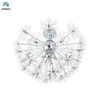 Post Modern Crystal Dandelion G4 Led Ceiling Lamp Bedroom Chrome Steel Lustre Ceiling Light Indoor Lighting Lamparas for Foyer