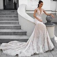 Eslieb заказ Кепки рукавом свадебное платье 2019 Винтаж «русалка» торжественные платья Vestido de Noiva свадебное платье