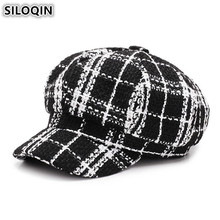 SILOQIN Womens Hat British Trend Retro Newsboy Caps For Women Gorras Mujer Elegant Female Beret Autumn Winter Plaid Flat Cap