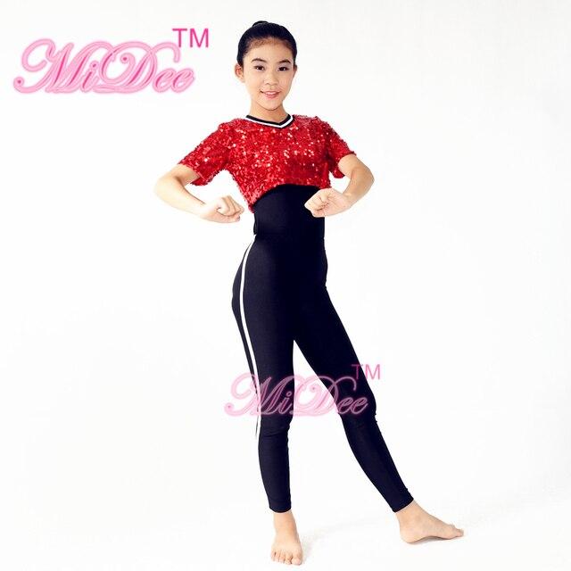 d82add843538 Red Sequin T-Shirt Black Leotard under Hight Waist Leggings Stage Dance  Outfits Hip Hop Dance Costumes